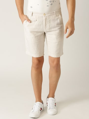 United Colors of Benetton Men Cream-Coloured Solid Slim Fit Regular Shorts United Colors of Benetton Shorts at myntra
