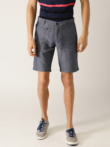 United Colors of Benetton Men Navy Blue Solid Slim Fit Regular Shorts United Colors of Benetton Shorts at myntra