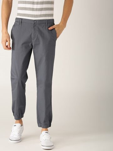 United Colors of Benetton Men Grey Slim Fit Solid Joggers United Colors of Benetton Trousers at myntra