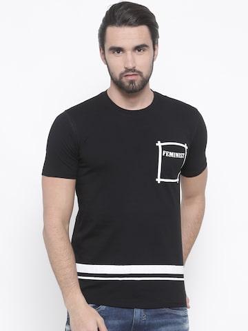 Indigo Nation Street Men Black Printed Round Neck T-shirt Indigo Nation Street Tshirts at myntra