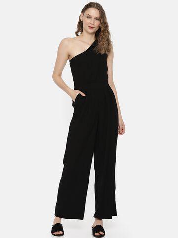 Vero Moda Black Solid One-Shoulder Basic Jumpsuit Vero Moda Jumpsuit at myntra