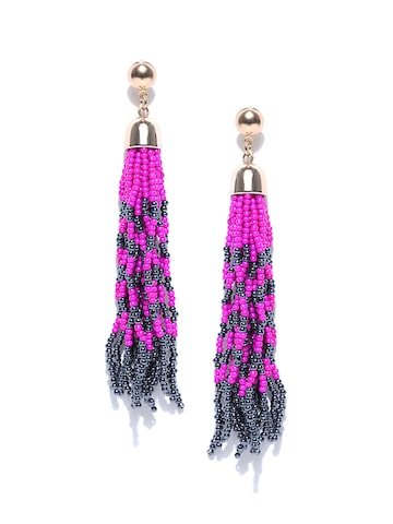 ToniQ Blue & Magenta Contemporary Drop Earrings ToniQ Earrings at myntra
