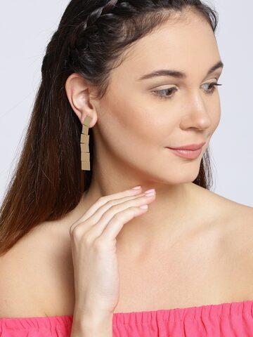 ToniQ Gold-Toned Geometric Drop Earrings ToniQ Earrings at myntra