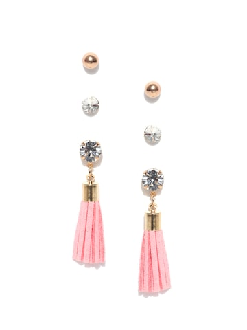 ToniQ Set of 3 Gold-Toned Contemporary Earrings ToniQ Earrings at myntra