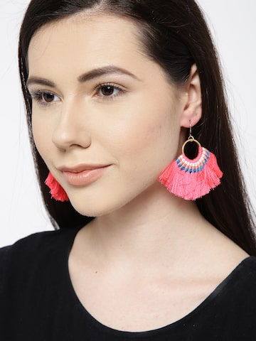 ToniQ Pink & Blue Tasselled Drop Earrings ToniQ Earrings at myntra
