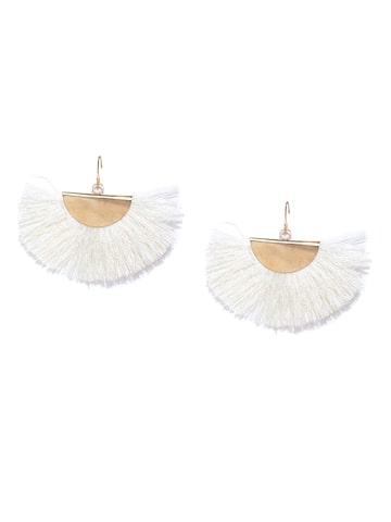 ToniQ Off-White & Gold-Toned Tasselled Drop Earrings ToniQ Earrings at myntra