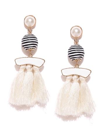 ToniQ Off-White & Black Circular Beaded Tasselled Earrings ToniQ Earrings at myntra