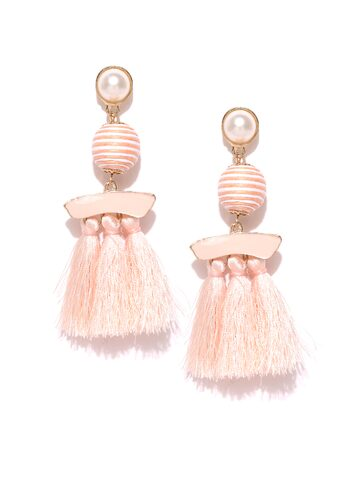 ToniQ Peach-Coloured Circular Beaded Tasselled Earrings ToniQ Earrings at myntra