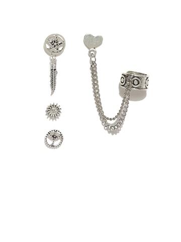ToniQ Set of 4 Oxidised Mismatched Studs ToniQ Earrings at myntra