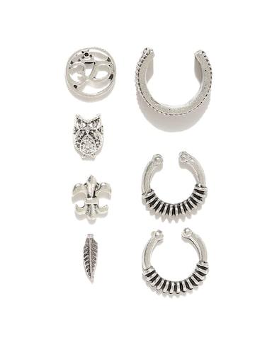 ToniQ Set of 7 Oxidised Silver-Toned Earrings ToniQ Earrings at myntra