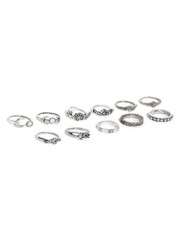 Toniq Set of 11 Oxidised Silver-Toned Rings ToniQ Ring at myntra