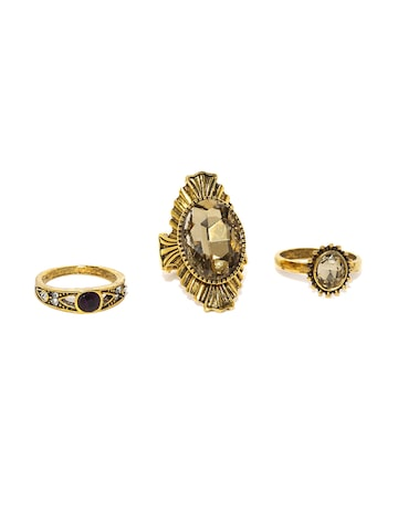 ToniQ Set of 3 Gold-Toned Finger Rings ToniQ Ring at myntra