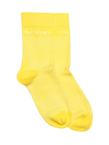 Stella McCartney by Adidas Women Yellow Striped Above Ankle-Length Socks Adidas Socks at myntra