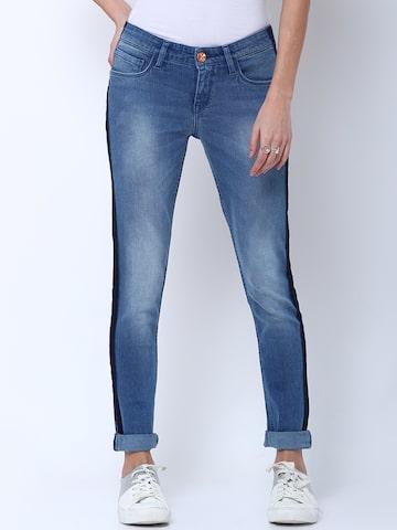Tokyo Talkies Women Blue Skinny Fit Mid-Rise Clean Look Stretchable Jeans Tokyo Talkies Jeans at myntra