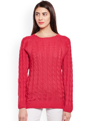 Club York Women Red Self Design Pullover Club York Sweaters at myntra