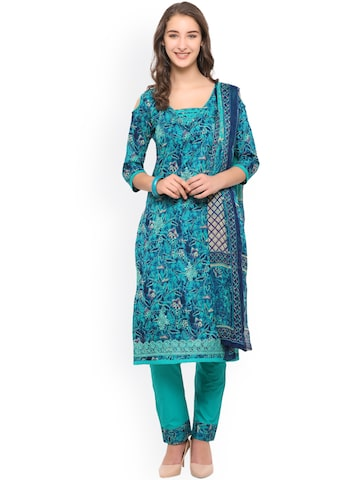 Inddus Teal & Blue Pure Cotton Unstitched Dress Material Inddus Dress Material at myntra