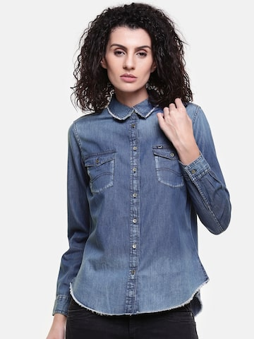 Lee Women Navy Blue Regular Fit Solid Casual Shirt Lee Shirts at myntra