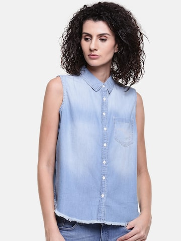 Lee Women Blue Regular Fit Solid Casual Shirt Lee Shirts at myntra