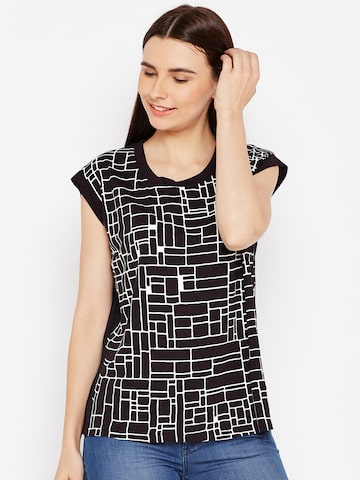 Wrangler Women Black & White Printed Top Wrangler Tops at myntra