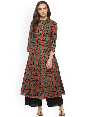 Bhama Couture Women Black & Red Printed Anarkali Kurta Bhama Couture Kurtas at myntra