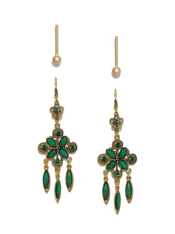 Ayesha Set of 2 Gold Earrings Ayesha Earrings at myntra