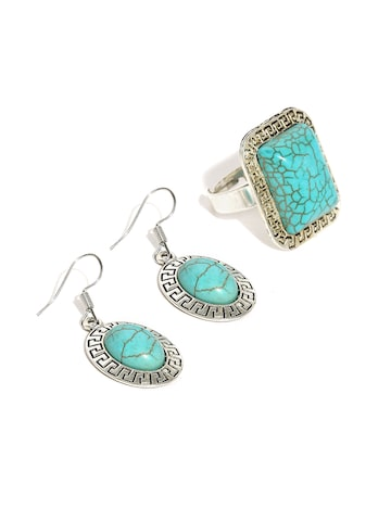 Ayesha Turquoise Blue and Oxidised Silver-Toned Ring and Earring Set Ayesha Jewellery Set at myntra