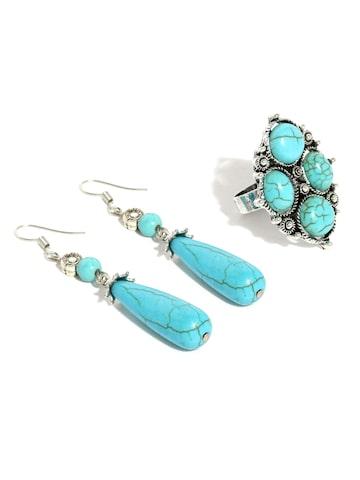 Ayesha Turquoise Blue and Oxidised Silver-Toned Ring and Earring Set Ayesha Jewellery Set at myntra