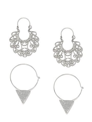 Ayesha Set of 2 Silver-Toned Earrings Ayesha Jewellery Set at myntra