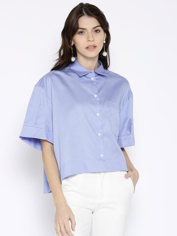 MANGO Women Blue Boxy Fit Solid Casual Shirt MANGO Shirts at myntra