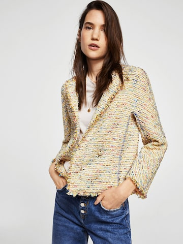 MANGO Women Beige Self Design Open Front Jacket MANGO Jackets at myntra