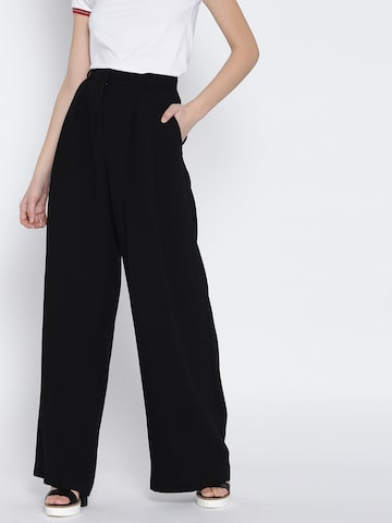 MANGO Women Black Regular Fit Solid Parallel Trousers MANGO Trousers at myntra