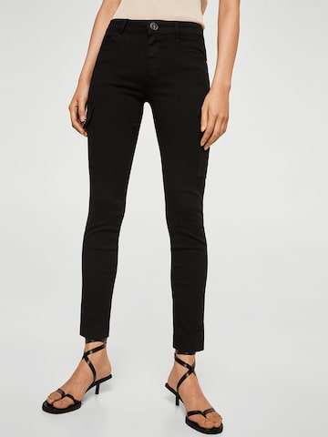 MANGO Women Black Regular Fit Solid Cargos MANGO Trousers at myntra