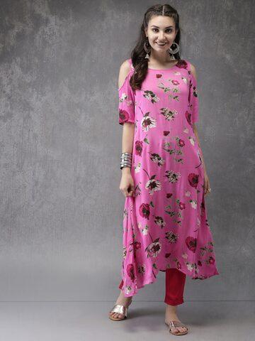 Anouk Women Pink Floral Printed A-Line Cold-shoulder Kurta Anouk Kurtas at myntra