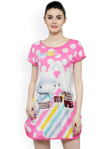 N-Gal Pink & White Printed Nightdress N-Gal Nightdress at myntra