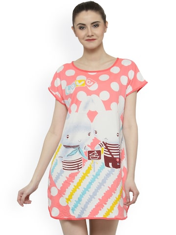 N-Gal Coral & White Printed Nightdress N-Gal Nightdress at myntra