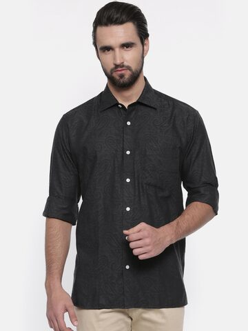 ColorPlus Men Charcoal Black Neo Classic Fit Self Design Casual Shirt ColorPlus Shirts at myntra