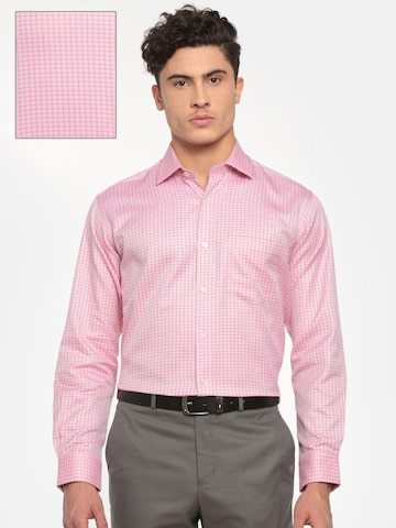 ColorPlus Men Pink Classic Regular Fit Checked Formal Shirt ColorPlus Shirts at myntra