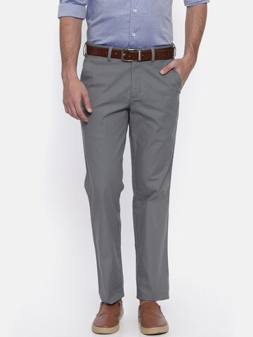 ColorPlus Men Grey Tailored Fit Solid Regular Trousers ColorPlus Trousers at myntra