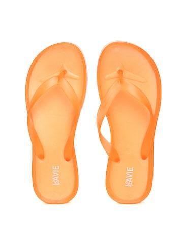 Lavie Women Orange Solid Thong Flip-Flops Lavie Flip Flops at myntra