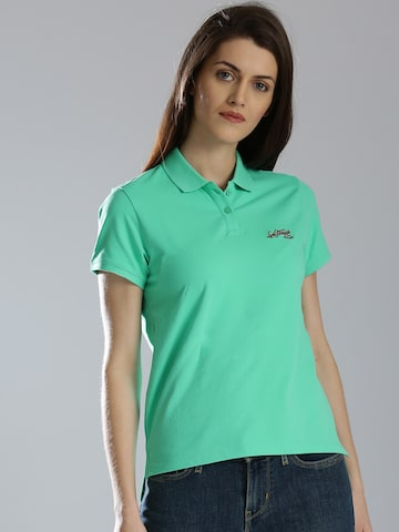 Levis Women Sea Green Solid Polo T-shirt Levis Tshirts at myntra