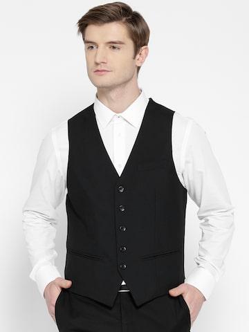 Arrow Black Body Tailored Fit Waistcoat Arrow Waistcoat at myntra