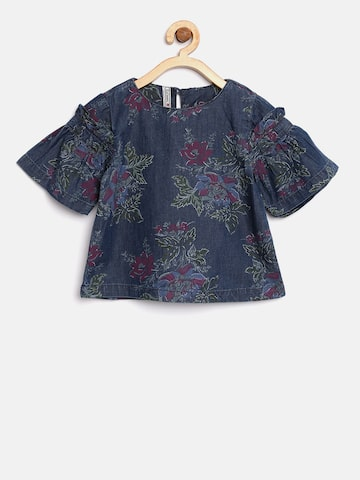 Lee Cooper Girls Navy Blue Floral Print Chambray A-Line Top Lee Cooper Tops at myntra