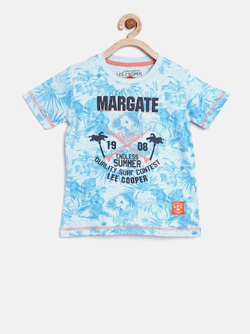 Lee Cooper Boys Blue & Off-White Printed Round Neck T-shirt Lee Cooper Tshirts at myntra