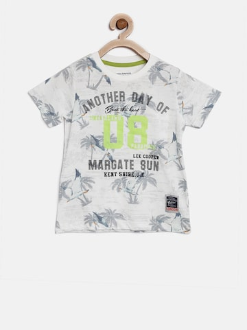 Lee Cooper Boys Grey & White Printed Round Neck T-shirt Lee Cooper Tshirts at myntra