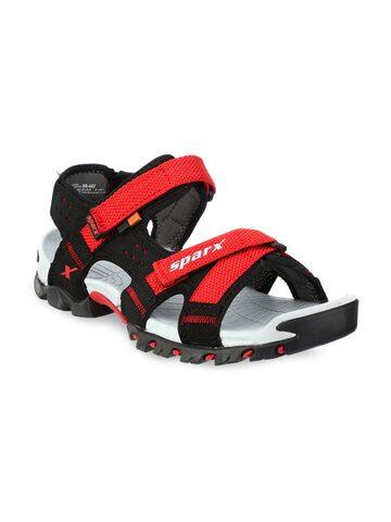 Sparx Men Black & Red Comfort Sandals Sparx Sandals at myntra