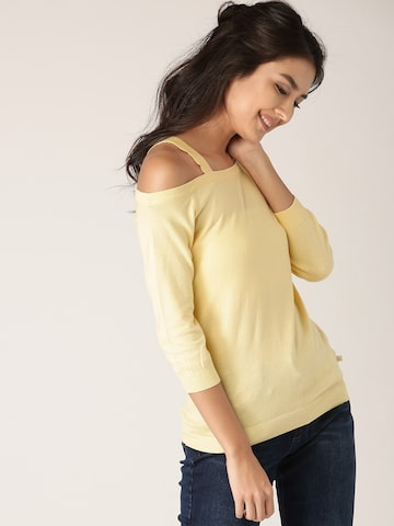 United Colors of Benetton Women Yellow Solid Top with Cut-Out Detail United Colors of Benetton Tops at myntra