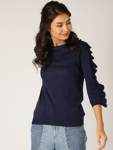 United Colors of Benetton Women Navy Solid Ruffled Top United Colors of Benetton Tops at myntra