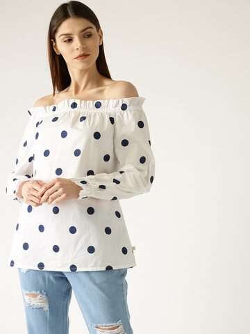 United Colors of Benetton Women White & Navy Blue Printed Bardot Top United Colors of Benetton Tops at myntra