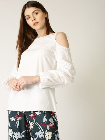 United Colors of Benetton Women White Solid Top United Colors of Benetton Tops at myntra