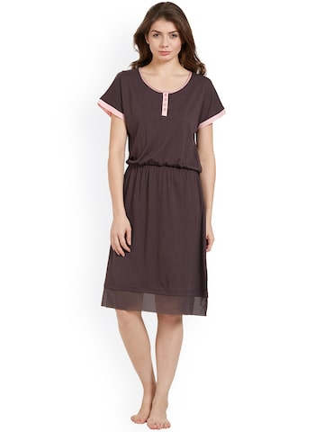 Soie Burgundy Solid Nightdress NT-72BEJWELLED Soie Nightdress at myntra